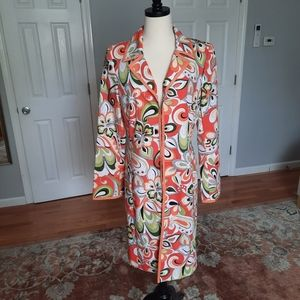 Long lightweight mod flower print jacket